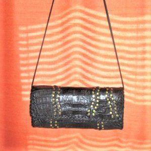 Vintage Black Crocodile Clutch By Carlos Falchi